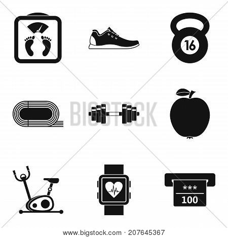 Hall for running icons set. Simple set of 9 hall for running vector icons for web isolated on white background