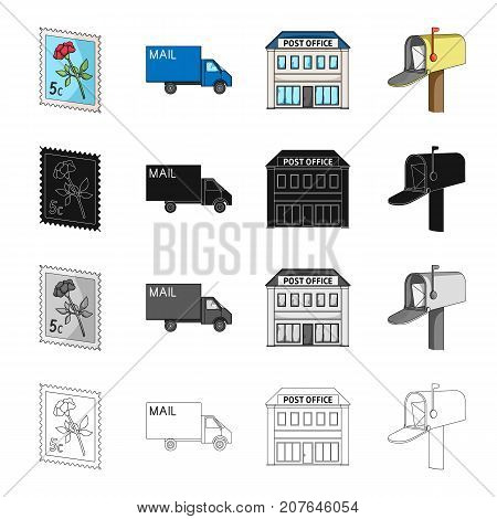 Postal, building, structure, and other  icon in cartoon style.Envelope, letter, telegram icons in set collection