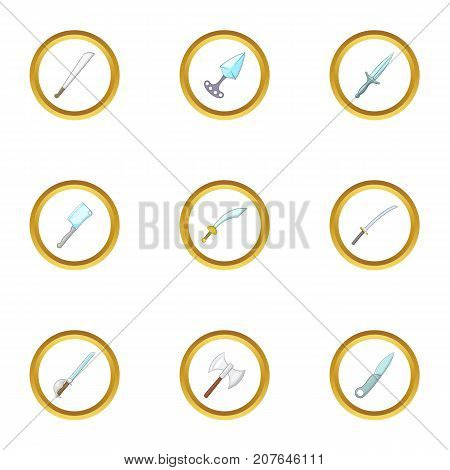 Military steel weapon icons set. Cartoon style set of 9 military steel weapon vector icons for web design