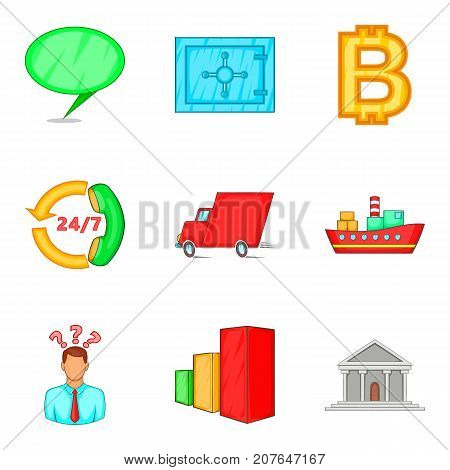 Weekday icons set. Cartoon set of 9 weekday vector icons for web isolated on white background