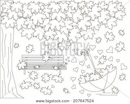 Monochrome romantic background with maple tree, bench, falling maple leaves, umbrella, lovebirds, coloring book anti stress stock vector illustration