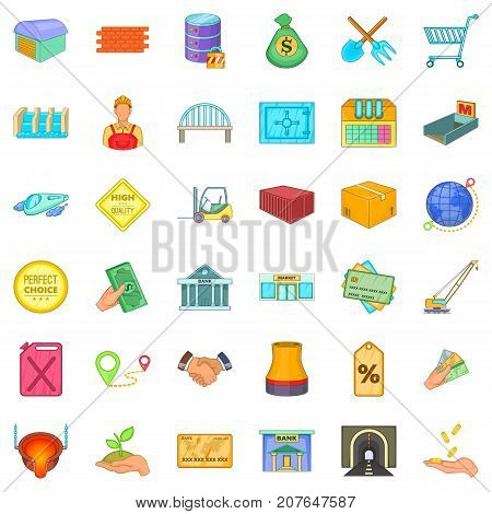 National economy icons set. Cartoon style of 36 national economy vector icons for web isolated on white background
