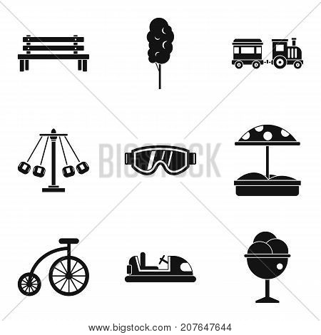 Baby playground icons set. Simple set of 9 baby playground vector icons for web isolated on white background