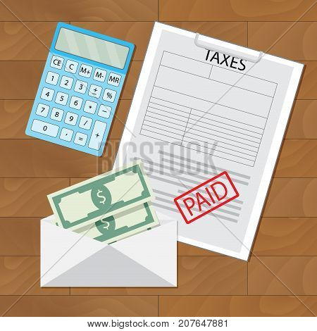 Paid taxes and money in envelope. Overhead paid tax document money pay vector illustration
