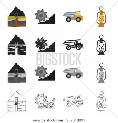 Equipment, useful, fossil and other  icon in cartoon style. Lighting, mining, industry icons in set collection.