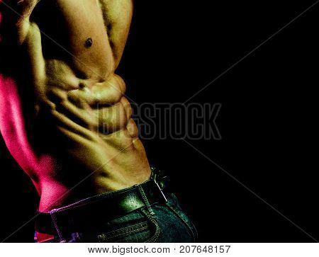 Muscular Guy In Jeans With Belt. Men's Fashion. Trousers For Men. Strong Male Athlete. Young Athleti