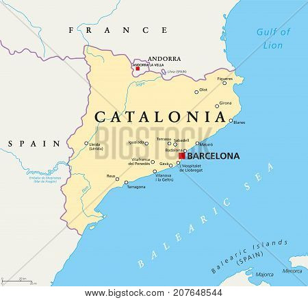 Independent Catalonia political map on the northeastern extremity of Iberian Peninsula. With capital Barcelona, borders and important cities. English labeling. Illustration. Vector.