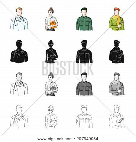 Man, doctor, bathrobe, and other  icon in cartoon style.Vocation, profession, hobby icons in set collection