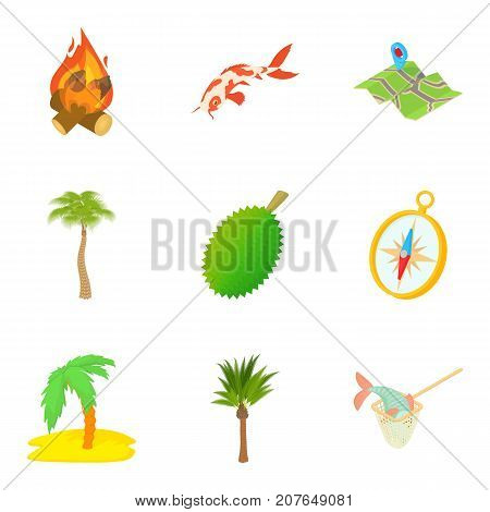 Rain-forest icons set. Cartoon set of 9 rain-forest vector icons for web isolated on white background