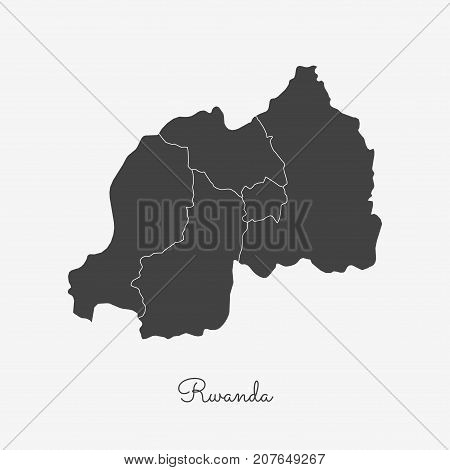 Rwanda Region Map: Grey Outline On White Background. Detailed Map Of Rwanda Regions. Vector Illustra