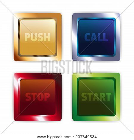 Set of metallic colorful square vector buttons for website or mobile application
