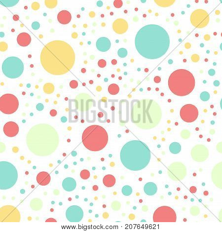 Colorful Polka Dots Seamless Pattern On Black 16 Background. Memorable Classic Colorful Polka Dots T