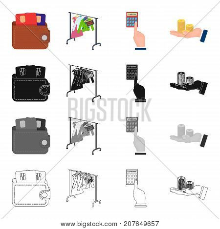 Purse with credit cards, sale Black Friday, counting on a calculator, a stack of coins in hand .Sale and purchase set collection icons in cartoon black monochrome outline style vector symbol stock isometric illustration .