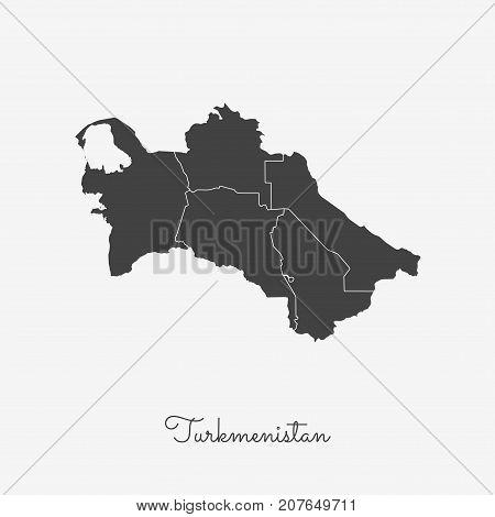 Turkmenistan Region Map: Grey Outline On White Background. Detailed Map Of Turkmenistan Regions. Vec