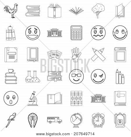 Bookmark icons set. Outline style of 36 bookmark vector icons for web isolated on white background