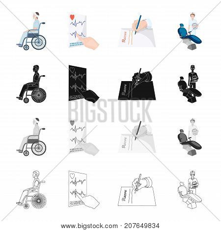 A patient in a wheelchair, the result of a cardiogram, an extract of a medical prescription, a dentist. The medicine set collection icons in cartoon black monochrome outline style vector symbol stock isometric illustration .