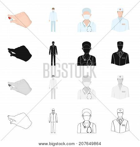 A medicine in hand, an orderly, a medical worker, a doctor with a phonendoscope. The medicine set collection icons in cartoon black monochrome outline style vector symbol stock isometric illustration .