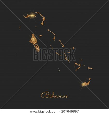 Bahamas Region Map: Golden Glitter Outline With Sparkling Stars On Dark Background. Detailed Map Of