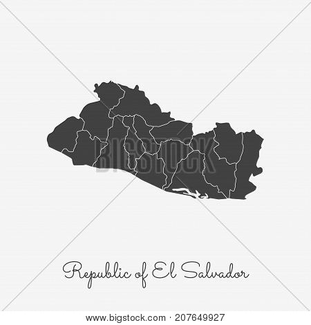 Republic Of El Salvador Region Map: Grey Outline On White Background. Detailed Map Of Republic Of El