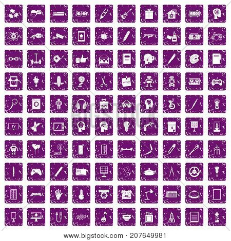 100 creative idea icons set in grunge style purple color isolated on white background vector illustration
