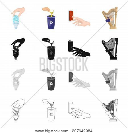 Hand with a light bulb, ejecting garbage, pressing a button, playing the harp. Hand and manipulation set collection icons in cartoon black monochrome outline style vector symbol stock isometric illustration .