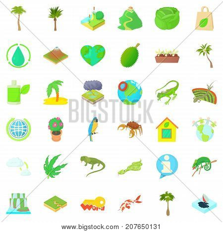 Grass icons set. Cartoon style of 36 grass vector icons for web isolated on white background