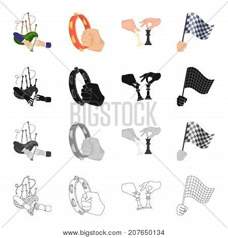Playing on bagpipes, tambourine in hand, chess, sports flag in hand. Movement and manipulation set collection icons in cartoon black monochrome outline style vector symbol stock isometric illustration .