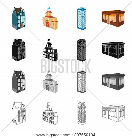 Building, store, library, and other  icon in cartoon style. Penthouse, material, palace icons in set collection