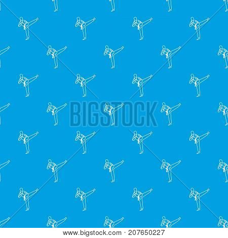 Wushu master pattern repeat seamless in blue color for any design. Vector geometric illustration