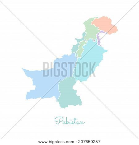 Pakistan Region Map: Colorful With White Outline. Detailed Map Of Pakistan Regions. Vector Illustrat