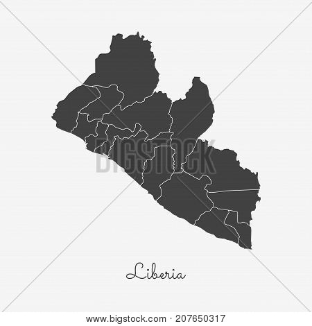Liberia Region Map: Grey Outline On White Background. Detailed Map Of Liberia Regions. Vector Illust