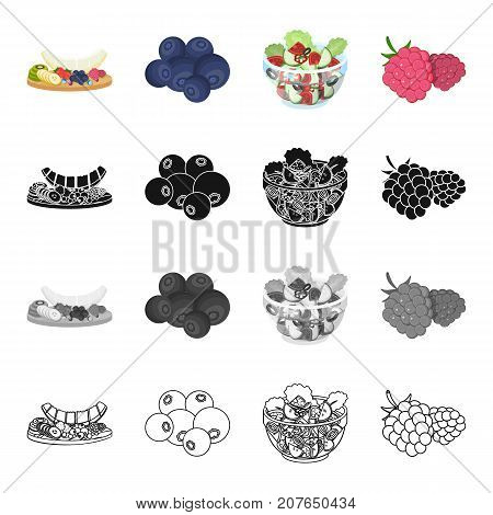 Cutting board with fruits, blueberries, raspberries, dessert, food, vegetable salad with vegetables. Fruit and dessert set collection icons in cartoon black monochrome outline style vector symbol stock isometric illustration .