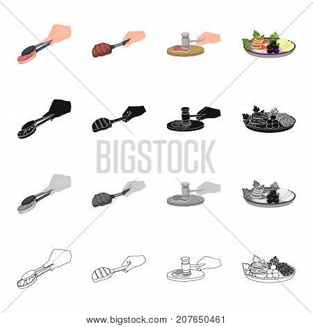 Tongs with steak, food, fish steak with vegetables and lemon, barbecue on the scoop, chop on the cutting board. Food and Cooking set collection icons in cartoon black monochrome outline style vector symbol stock illustration isometric .
