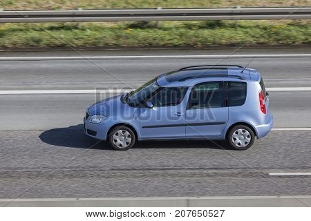Frankfurt Germany - Sep 19 2017: Skoda Roomster family mpv driving on the highway in Germany