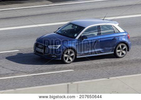 Frankfurt Germany - Sep 19 2017: Audi A1 five door hatchback driving on the highway in Germany