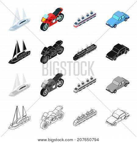 Sea yacht, railway transport electric locomotive, racing motorcycle, city car. Transport set collection icons in cartoon black monochrome outline style vector symbol stock isometric illustration .