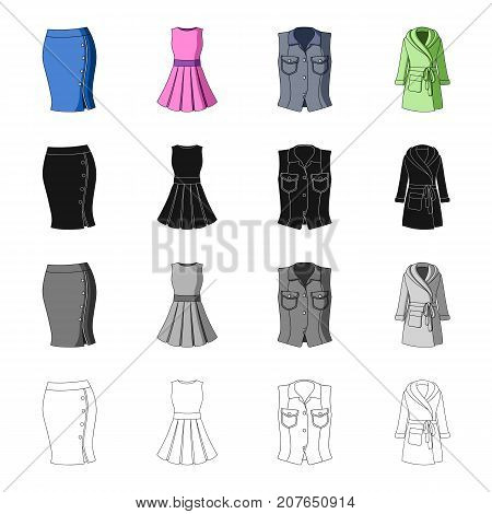Women's skirt, short dress, clothing vest, warm robe. Women's clothing set collection icons in cartoon black monochrome outline style vector symbol stock illustration .