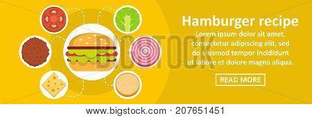 Hamburger recipe banner horizontal concept. Flat illustration of hamburger recipe banner horizontal vector concept for web design
