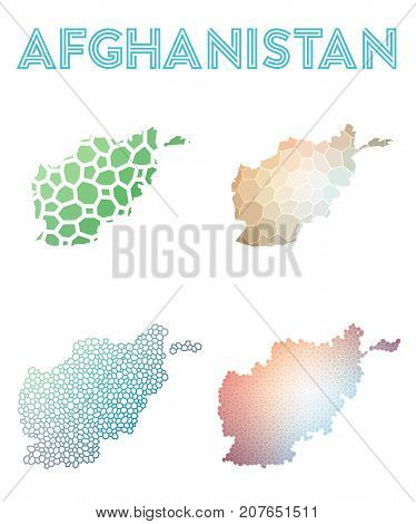 Afghanistan Polygonal Map. Mosaic Style Maps Collection. Bright Abstract Tessellation, Geometric, Lo