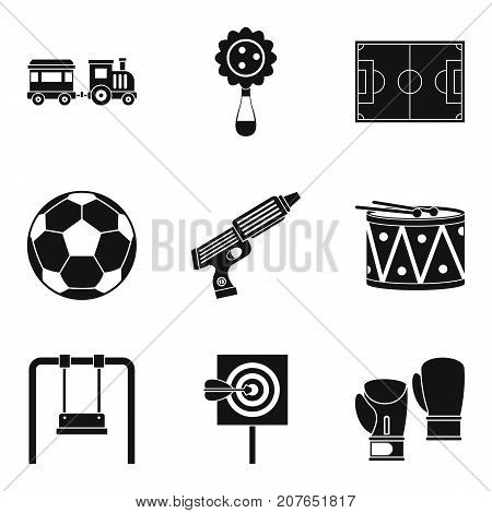 Entertainment for boys icons set. Simple set of 9 entertainment for boys vector icons for web isolated on white background