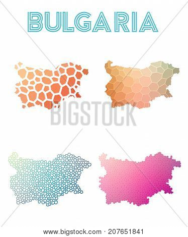 Bulgaria Polygonal Map. Mosaic Style Maps Collection. Bright Abstract Tessellation, Geometric, Low P