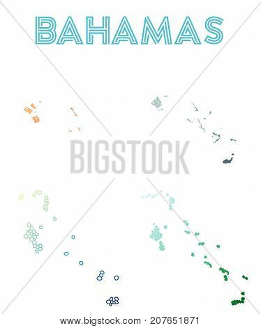 Bahamas Polygonal Map. Mosaic Style Maps Collection. Bright Abstract Tessellation, Geometric, Low Po