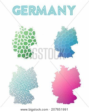 Germany Polygonal Map. Mosaic Style Maps Collection. Bright Abstract Tessellation, Geometric, Low Po
