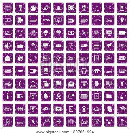 100 cyber security icons set in grunge style purple color isolated on white background vector illustration
