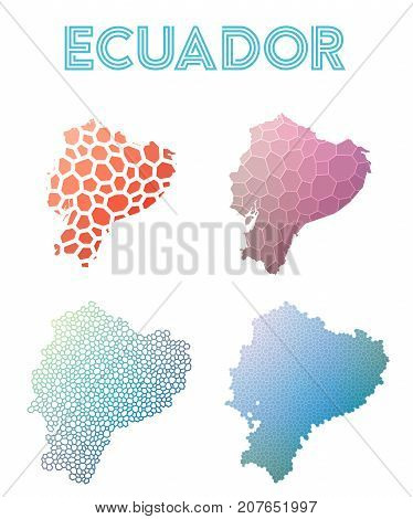 Ecuador Polygonal Map. Mosaic Style Maps Collection. Bright Abstract Tessellation, Geometric, Low Po