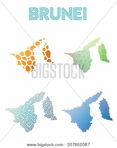 Brunei Polygonal Map. Mosaic Style Maps Collection. Bright Abstract Tessellation, Geometric, Low Pol