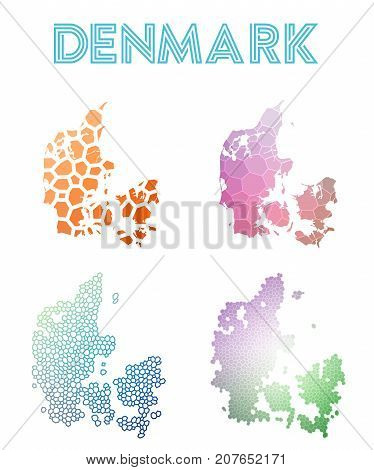 Denmark Polygonal Map. Mosaic Style Maps Collection. Bright Abstract Tessellation, Geometric, Low Po