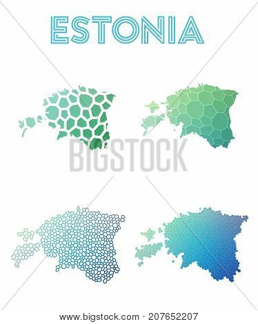 Estonia Polygonal Map. Mosaic Style Maps Collection. Bright Abstract Tessellation, Geometric, Low Po