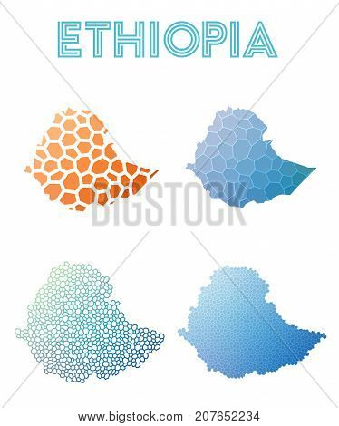 Ethiopia Polygonal Map. Mosaic Style Maps Collection. Bright Abstract Tessellation, Geometric, Low P