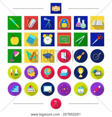 Pencils, education, attributes and other  icon in cartoon style. Letter, Universe, university icons in set collection.